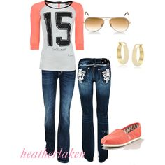 """""""Casual Peach"""" by heather-laken-michael on Polyvore"""