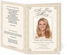 Funeral Service Programs: Letter Single Fold : Alexandria Funeral Program Template Damask Frame Pattern