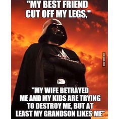 #lol rough life... Follow @eNebriated for more awesome content.  Darth Vader has a sad sad life... No friends Wife and kids hate him and try to destroy him but the one good thing his granson likes him!  #darthvader #starwars #starwarsfans #obiwan #swsaga #empirestrikesback #returnofthejedi #theforce #theforceawakens #yoda #hansolo #princessleia #geek #nerdy #geeky #nerd #funny #haha #lmao #hehe #lmaobruh #instagood #instamood #instahappy