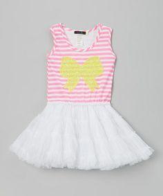 Look at this #zulilyfind! Neon Pink Sequin Bow Tutu Dress - Toddler & Girls #zulilyfinds