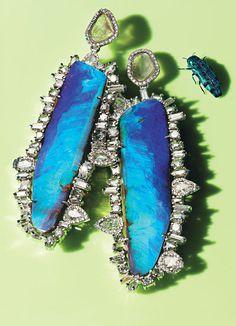 Kimberly McDonald platinum, black opal, and diamond earrings.