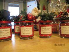Pot-pourri in salsa jars -   Buckets of Christmas Ideas