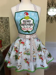 Merry Grinchmas and Happy New Year Grinch Christmas Apron - One of a Kind Apron - Awesome Christmas Gift! Christmas Aprons, Grinch Stole Christmas, Best Christmas Gifts, Christmas Fabric, The Grinch Movie, Baking Apron, Sewing Aprons, Polka Dot Fabric, Full Circle Skirts