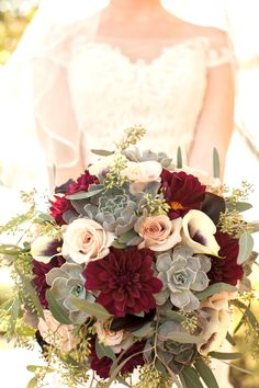 Burgundy dahlia, succulents, white calla lilies, roses, richly-hued bridal bouquet // Rebecca Newman Photography