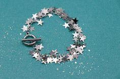 Stars bracelet Silver star bracelet Toggle bracelet Silver | Etsy