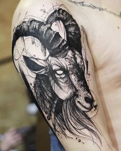 Find your best gift ideas for your family and friends! Bull Tattoos, Leg Tattoos, Sleeve Tattoos, Tattoos For Guys, Tatoos, Tattoo Goat, Pine Tattoo, Kiefer Tattoo, Dean Tattoo