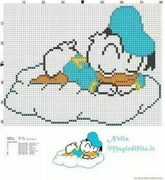 Baby Donald Duck Sleeping On Cloud - Free Cross Stitch Patterns Simple Unique Alphabets Baby - Diy Crafts Cross Stitch For Kids, Cross Stitch Baby, Cross Stitch Charts, Cross Stitch Patterns, Hama Disney, Disney Stich, Cross Stitching, Cross Stitch Embroidery, Embroidery Patterns