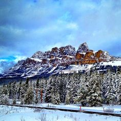 Castle Mountain #snow #white #blue #brown #november #holiday #escape #mountain #rockies #alberta #canada #sky #clouds #nature #travel #explore #railroad #trees #castlemountain #cabin #hiking #snowshoeing #fall #winter #majestic #forest #love #ancientaliens