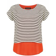 Dorothy Perkins Orange striped layered top (1,440 INR) ❤ liked on Polyvore featuring tops, orange, orange top, pink top, pink striped top, double layer top and dorothy perkins