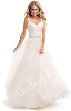 Ball gown wedding dress with straps and a sparkly belt. Love it!!