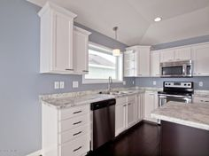 love this white and blue kitchen