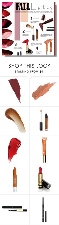 """FALL LIPSTICK"" by larissa-takahassi ❤ liked on Polyvore featuring beauty, Maybelline, Giambattista Valli, Lily Lolo, This Works, NARS Cosmetics, Estée Lauder, Clarins, Trish McEvoy and Gucci"