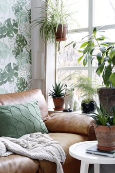 Adorn your walls with these beautiful exotic prints and painted tropical jungle leaves, creating your own urban jungle . The tropical botanical look is all about natural materials, the combination of neutral colours with shades of green, like olive, mint or emerald and of course: many plants. If you've brave enough to mix patterns, cushion with tropical prints will finish the look perfectly. Home Interior, Interior Design, Botanical Wallpaper, Botanical Bedroom, Home Greenhouse, Bohemian Room, Inspirational Wallpapers, Living Styles, Shades Of Green
