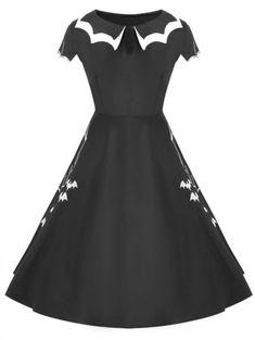 Women Halloween Bat Net Vintage Plus Size Dress Costume Cap Sleeve Black  Dress cd541159561e