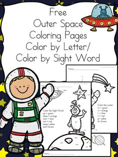 Outer Space Coloring Pages - Color by Letter/Color by Sight Word Pages with an Outer Space Theme. Great for Preschool or Kindergarten. Outer Space Activities for Kids Space Preschool, Space Activities, Preschool Science, Teaching Science, Science Activities, Preschool Ideas, Summer Activities, Science Experiments, Toddler Activities