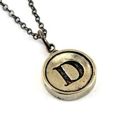 Letter D Necklace - White Bronze Initial Typewriter Key Charm Necklace - Gwen Delicious Jewelry Design. $29.75, via Etsy.