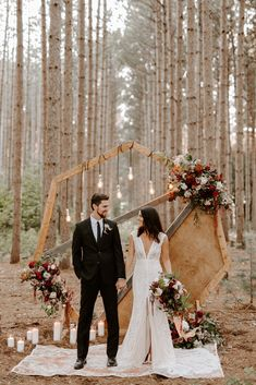 Intimate wedding in the woods inspiration in Emmy Mae Bridal Wedding Ceremony Ideas, Wedding Ceremony Script, Ceremony Backdrop, Wedding Ceremonies, Wedding Lace, Arch Wedding, Backdrop Wedding, Wedding Rustic, Trendy Wedding