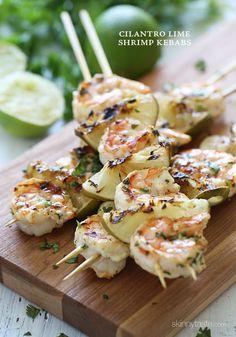 Grilled Cilantro Lime Shrimp Kebabs - My Shrimp Recipes Shrimp Recipes, Fish Recipes, Paleo Recipes, Cooking Recipes, Grilling Recipes, Vegetarian Grilling, Healthy Grilling, Cooking Food, Yummy Recipes