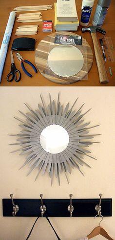 DIY Starburst Mirror - craftynest.com - Ingenioso espejo DIY
