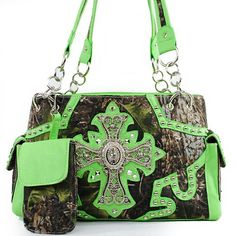 Amazon.com: New Arrival Western Handbag Camouflage Rhinestone Gemstone Round Rivet Studded Cross Tote Satchel Shoulder Handbag Purse with Mobile Phone Cover / Phone Case in Camo and Green: Clothing