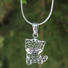 Sterling Silver Necklace, 'Filigree Kitten' - Free Shipping
