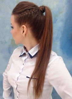 ponytail with a side braid for long hair