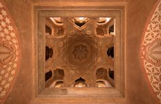 Beautiful hand carved Ceiling of the Almoravid Koubba in Marrakech, Morocco. www.asilahventures.com