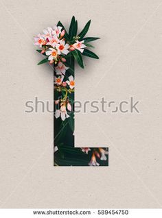 Unique Letter L alphabet made of real blooming flowers and leaves with paper cut. Illustration of floral alphabet collection for design project, poster, card, invitation, brochure and scrapbook
