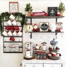 Chalkboards and Cappuccinos: Gorgeous Coffee Stations to Wake Up to Every Morning Coffee Nook, Coffee Bar Home, Coffee Bar Signs, Coffee Bars, Coffee Corner, Coffee Shops, Hot Coffee, Christmas Coffee, Christmas Kitchen