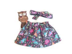 Dinosaur Skirt For Girls Grey Dino Toss by ZoeHeartblast on Etsy