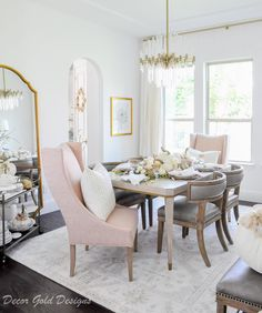 Blush Pink Tabletop Essentials – Decor Gold Designs Beautiful white and blush dining room with a transitional design. Pink Dining Rooms, Beautiful Dining Rooms, Living Rooms, Interior Styling, Interior Design, Gold Interior, Best Interior, Kitchen Interior, Kitchen Decor