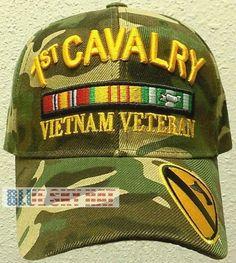 51ba95d22a8 Camo u.s. army 1st cavalry division team vietnam campaign veteran vet cap  hat os