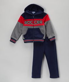 Look at this #zulilyfind! Navy 'Varsity' Hoodie & Track Pants - Toddler & Boys by Unik #zulilyfinds