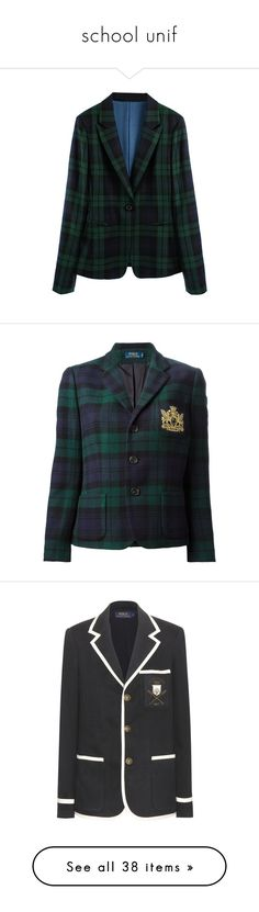 """school unif"" by princeps-1 ❤ liked on Polyvore featuring outerwear, jackets, blazers, blazer, plaid, green plaid jacket, green blazer jacket, green plaid blazer, plaid blazers and green blazers"