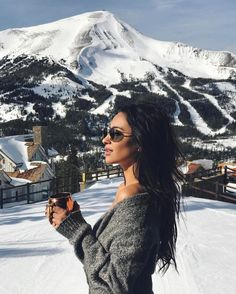 Destination dreaming of Après-ski Shay Mitchell is so stunning and the mountains in the background are having us destination dreaming!!