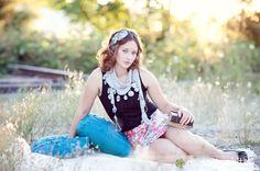 Idea for a senior girl shoot.  blanket and pillows in a field.  Melody White Studios | Seniors