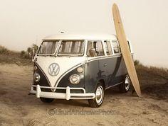 vw van and long board