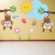 Nursery Monkey Girl Jungle Wall Decal