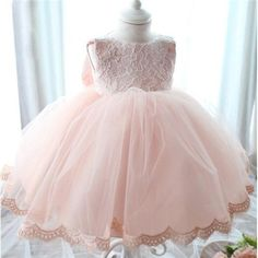 Delicate Flower Girls Pink Lace Tutu Dresses With Big Bow,Infant Baby First Birthday Party Wear,vestidos femininos (Mainland)) Baby Girl Wedding Dress, Baby Girl Birthday Dress, Girls Baptism Dress, Wedding Dresses For Girls, Birthday Dresses, Girls Dresses, Girl Baptism, Tutu Dresses, Party Dresses