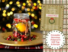 Homemade Potpourri, Potpourri Recipes, Homemade Christmas Gifts, Homemade Gifts, Christmas Holidays, Christmas Crafts, Christmas Ideas, Stove Top Potpourri, Gift Tags Printable