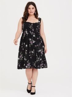 68f4817d9c Plus Size Special Occasion Black Floral Sweetheart Midi Dress