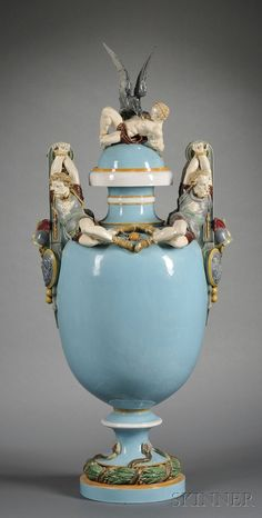 Minton Majolica Prometheus Bound Vase and Cover, England, 19th century