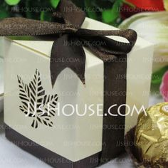 "Favor Holders - $5.99 - ""Autumn Elegance"" Laser Cut Fall Leaf Favor Box (Set of 12) (050013403) http://jjshouse.com/Autumn-Elegance-Laser-Cut-Fall-Leaf-Favor-Box-Set-Of-12-050013403-g13403"