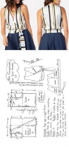 Blusa transpassada com faixa na cintura | DIY - molde, corte e costura - Marlene Mukai