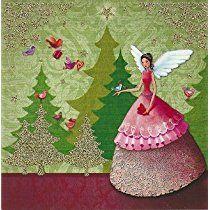 Quadratische Postkarte ~ Mila Marquis ~ Engel mit Tannenbäumen