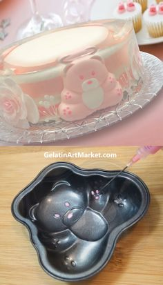 Pink Gelatin Art Cake These refreshing, fruit and cream flavored cakes are made by drawing or inserting shapes into delic Gelatin Recipes, Jello Recipes, Cake Decorating Videos, Cake Decorating Techniques, Cake Decorating Frosting, 3d Jelly Cake, Jelly Desserts, Jello Cake, Creative Food Art