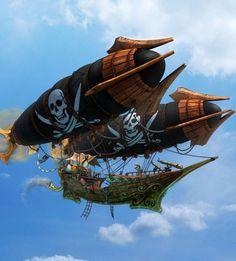 Steampunk Ship, Steampunk Pirate, Fantasy Landscape, Fantasy Art, Flying Ship, Fantasy Places, Environment Concept Art, Arte Pop, Environmental Art