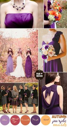 Autumn - Had a family use this color palette last fall and it looked fantastic with the fall leavesWedding Inspiration, Color Palettes, Shades Of Purple, Color Schemes, Purple Autumn Wedding, Bridesmaid Dresses, Autumn Weddings, Purple Bridesmaid, Wedding Bridesmaids by DreamDayInvitations