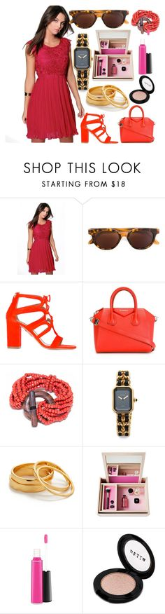 """HOT Fashion"" by donna-wang1 ❤ liked on Polyvore featuring Boohoo, RetroSuperFuture, Aquazzura, Givenchy, Gorjana, Nomess, MAC Cosmetics and Stila"