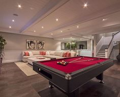 Contemporary-Basement-Design-with-Red-Billiard-Table